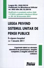 Legea privind sistemul unitar de pensii publice. In vigoare incepand cu 1 ianuarie 2011 - * * *