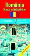 Romania - harta manastirilor (scara: 1:850.000) -