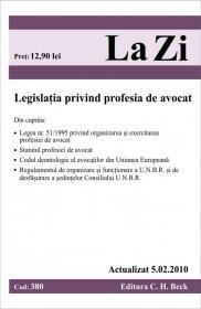Legea privind profesia de avocat (actualizat la 05.02.2010). Cod 380 -