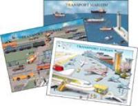 Transportul Maritim, Terestru, Aerian  ( 3 Planse)  - colectiv Aramis